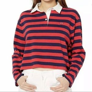 Levi's Rugby Striped Cropped Long Sleeve Top NEW